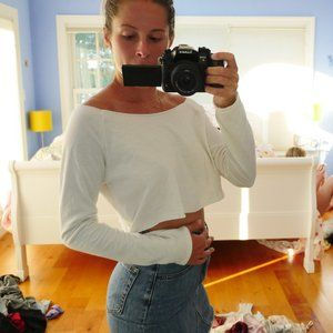 Super soft white backless crop top